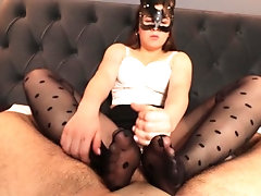 Teen StepSis pantyhose footjob...