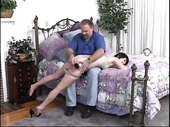 Two girls spanked by their...
