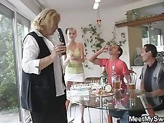 She toying his mom's pussy...