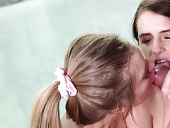 Facial explosion on two hot babes