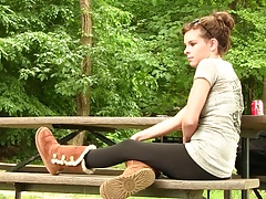 Amy in Uggs boot shoeplay