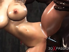 A horny bride gets fucked by a...