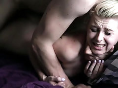 beautiful blonde doll screams in...