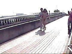 Japanese Naked Girl Walking in...