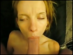 Skinny bitch gets her face jizzed