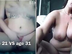 Slut shows off her body on...