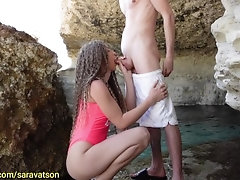 Public Blowjob on the Beach with...
