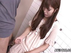 Asian teen jerking on the...