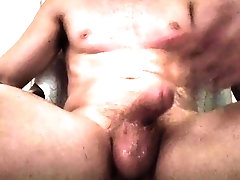 Jerking thick well hung cock to...