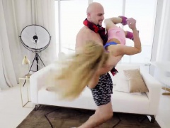 Tight blonde teen banged and...