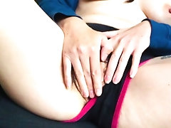 Teen plays with hairy pussy in...