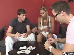 Blonde girlfriend cheats as her...