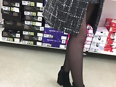 Spy on a girl in stockings