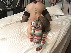 Young whore in stockings gives...